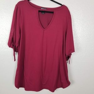 Kristin Nicole Cranberry Red Cut Out 3/4 Sleeve T